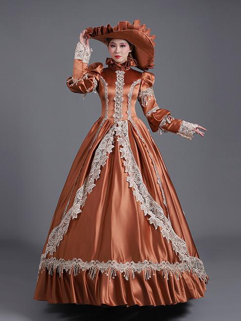 Coffee Satin Lace High Neck Long Sleeve Rococo Baroque Dress