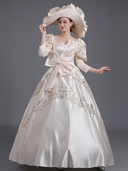 Champagne Satin Sequins Appliques Bow Baroque Victorian Dress