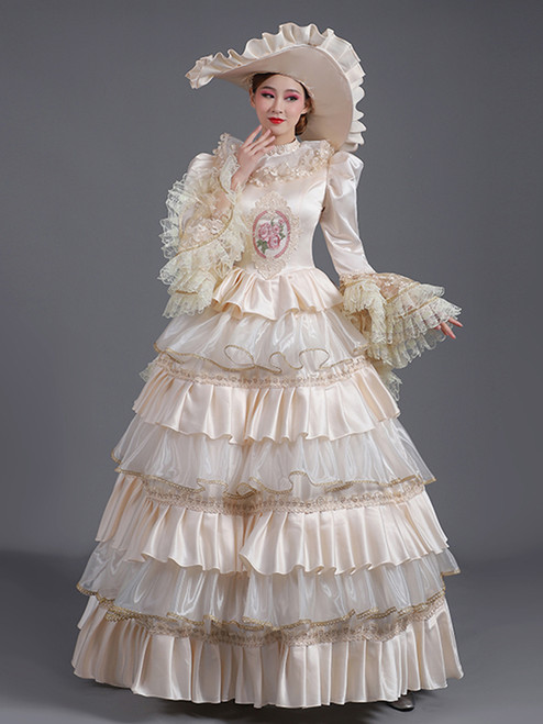 Satin Long Sleeve Tiers Champagne Rococo Baroque Dress