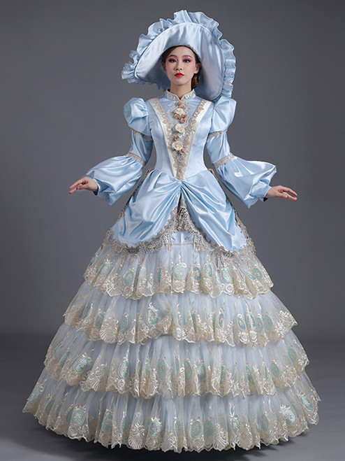 Blue Satin Lace Long Sleeve Appliques Rococo Baroque Dress
