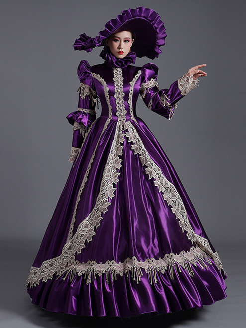 Purple Satin Lace Appliques Long Sleeve Baroque Victorian Dress