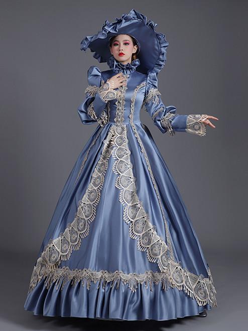 Blue Satin Lace Appliques Long Sleeve Baroque Vintage Dress