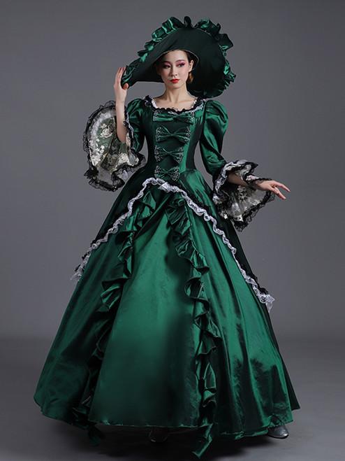 Green Satin Lace Long Sleeve Bow Rococo Baroque Dress