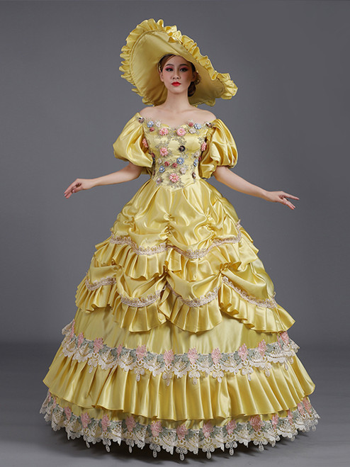 Yellow Satin Pleats Appliques Puff Sleeve Baroque Vintage Dress