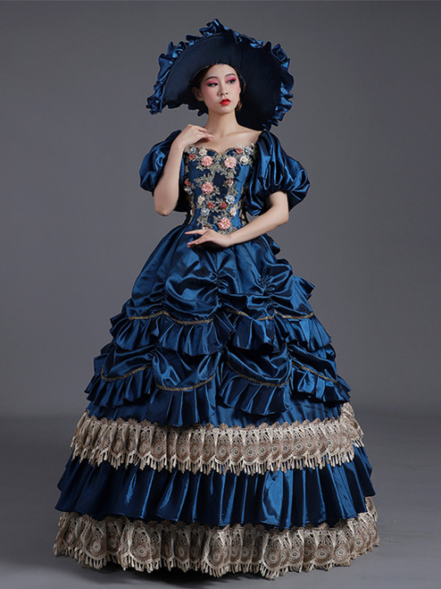 Navy Blue Satin Pleats Appliques Puff Sleeve Baroque Rococo Dress