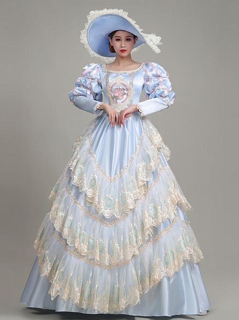 Light Blue Satin Lace Long Sleeve Rococo Baroque Dress