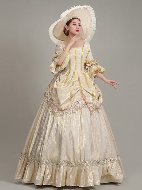 Champagne Square Short Sleeve Rococo Baroque Dress