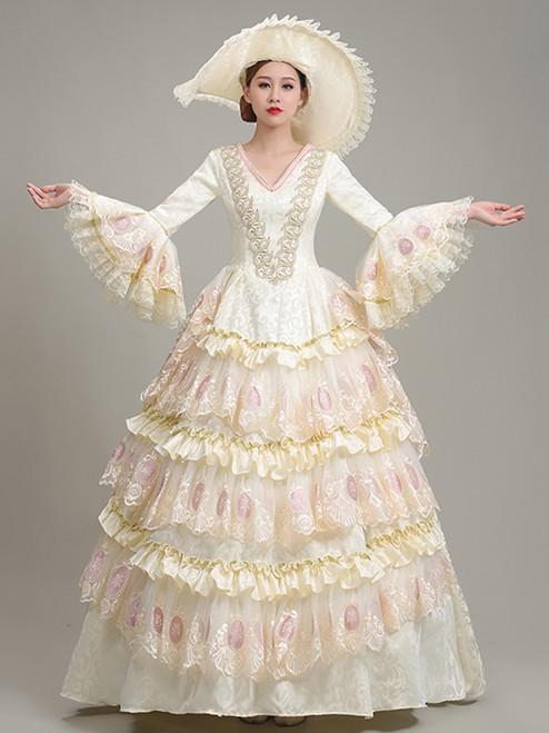 Light Yellow Lace V-neck Long Sleeve Rococo Baroque Dress