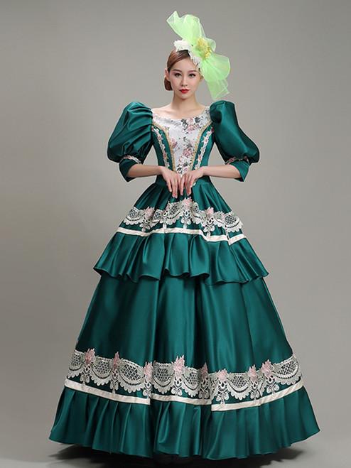 Green Satin Bateau Lace Puff Sleeve Rococo Baroque Dress