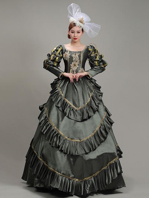 Satin Long Sleeve Appliques Pleats Victorian Dress