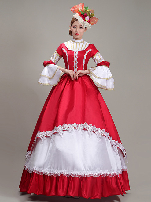 Red White Satin Lace Long Sleeve Rococo Baroque Dress