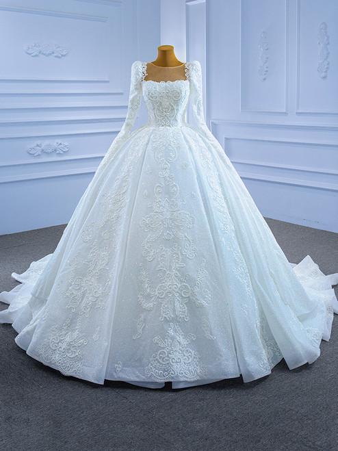 White Sequins Appliques Long Sleeve Beading Wedding Dress