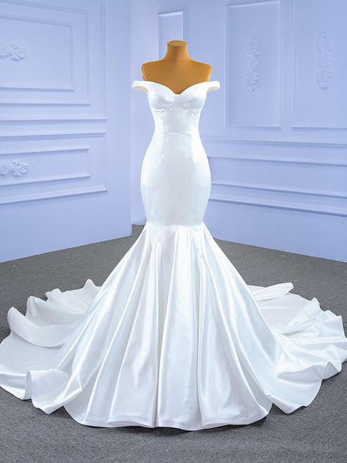 White Mermaid Satin Off the Shoulder Wedding Dress