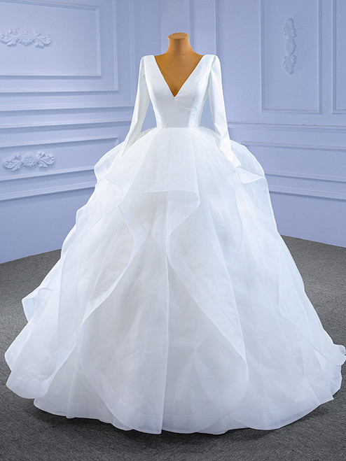 White Satin V-neck Long Sleeve Wedding Dress