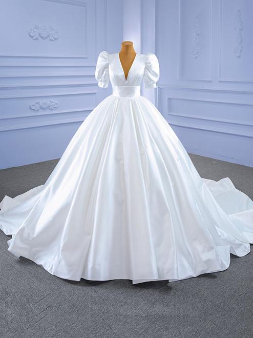 White Ball Gown Satin V-neck Puff Sleeve Wedding Dress