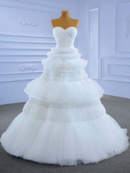 White Tulle Sweetheart Pleats Tiers Wedding Dress