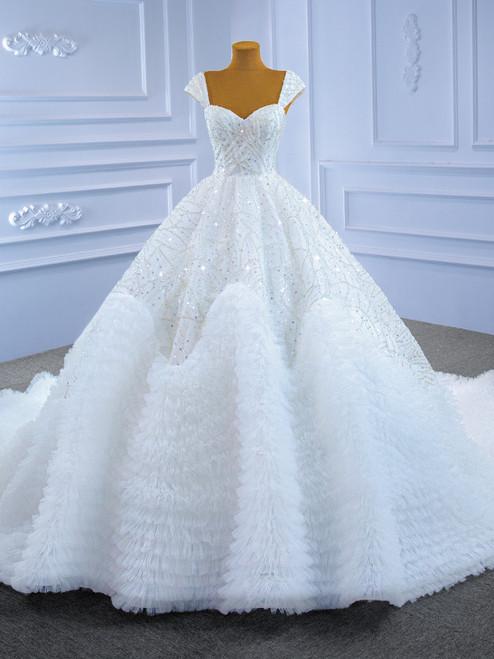 White Tulle Sequins Beading Straps Wedding Dress