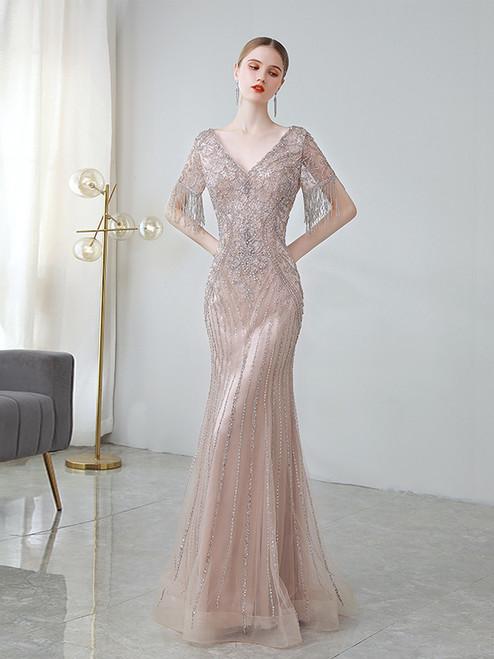 Meat Pink Mermaid V-neck Short Sleeve Heavy Beading Prom Dress
