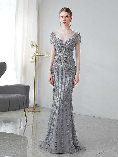 Gray Mermaid Beading Cap Sleeve Prom Dress