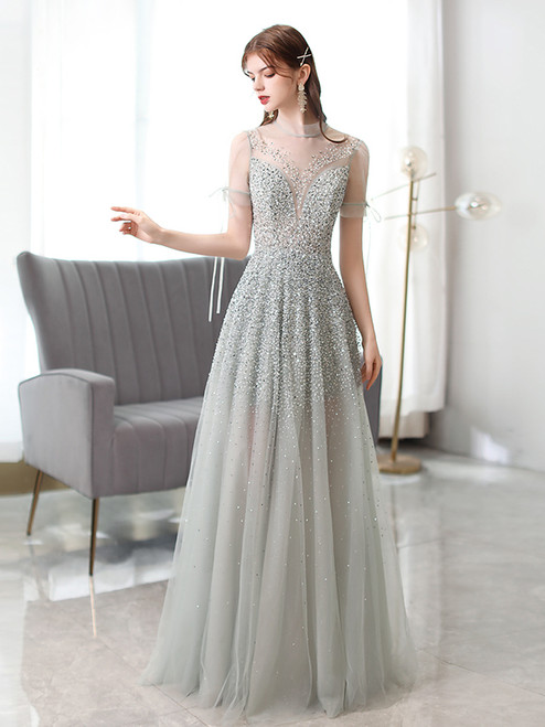 Gray Tulle Short Sleeve Illusion Back Beading Sequins Prom Dress