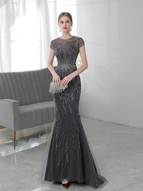 Dark Gray Tulle Mermaid Cap Sleeve Beading Sequins Prom Dress