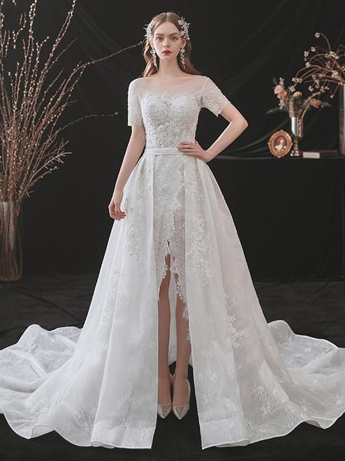 White Lace Mermaid Short Sleeve Wedding Dress With Detachable Train
