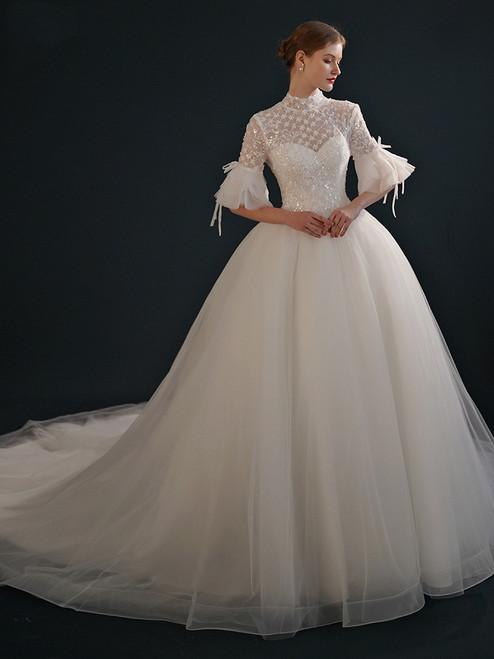 White Tulle Sequins Short Sleeve High Neck Wedding Dress