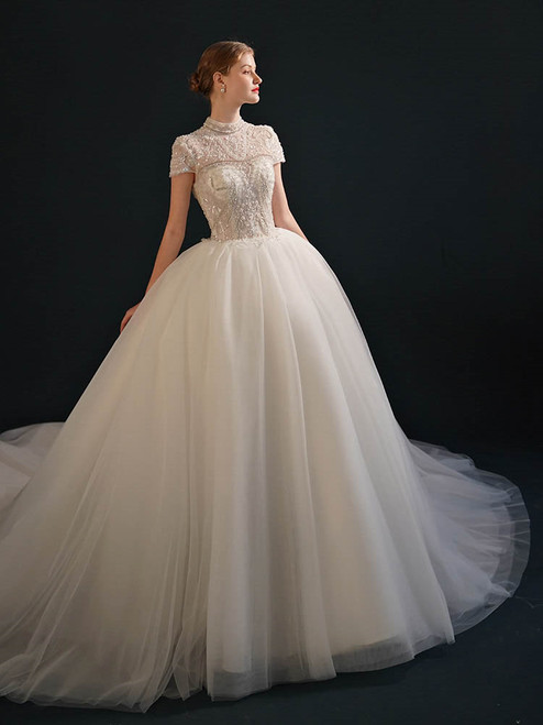 White Tulle High Neck Cap Sleeve Beading Wedding Dress