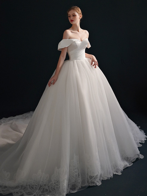White Tulle Off the Shoulder Lace Wedding Dress