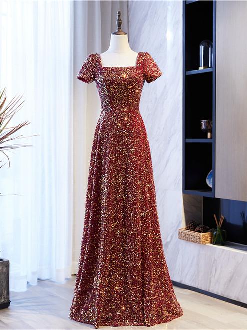 Burgundy Sequins Square Short Sleeve Prom Dress