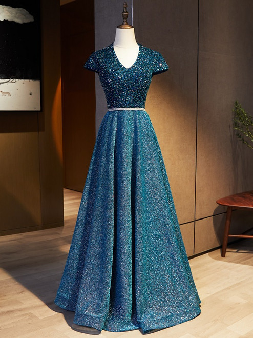 Blue V-neck Cap Sleeve Backless Sequins Beading Prom Dress