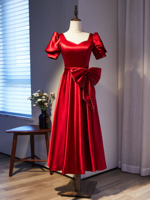 Burgundy Satin Square Puff Sleeve Pearls Bow Prom Dress
