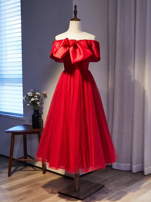 Burgundy Tulle Off the Shoulder Short Prom Dress