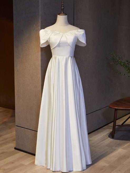 White Satin Off the Shoulder Formal Prom Dress