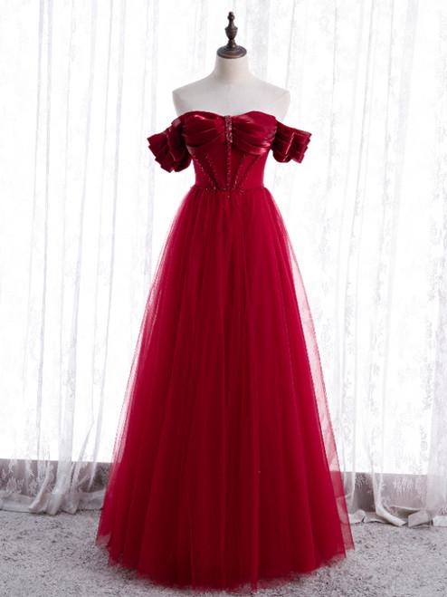 Burgundy Tulle Beading Off the Shoulder Prom Dress
