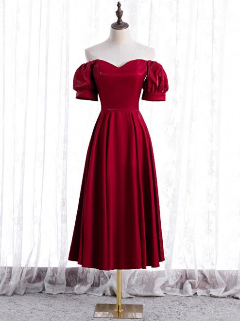 Burgundy Satin Off the Shoulder Puff Sleeve Prom Dress