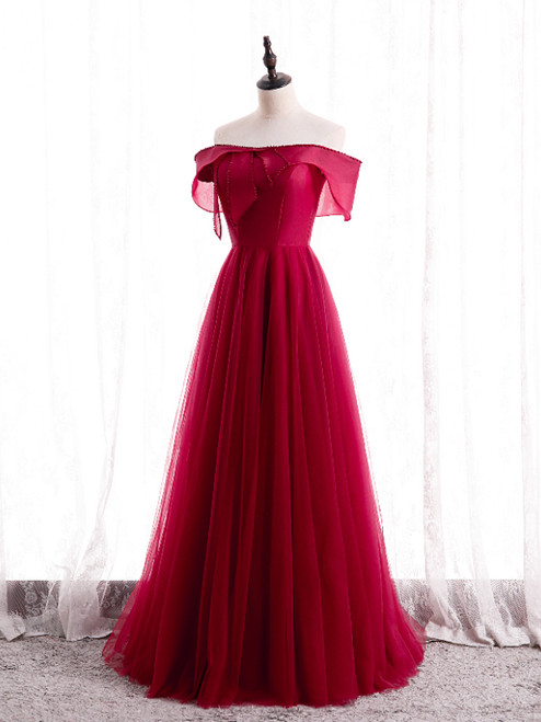 Burgundy Tulle Pearls Off the Shoulder Prom Dress
