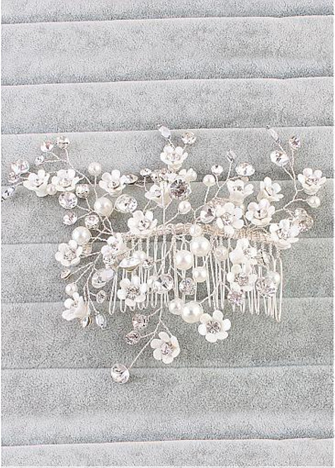 Stunning Alloy Wedding Hair Ornaments With Rhinestones & Pearls