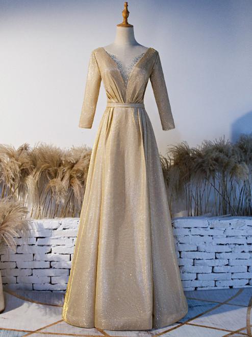 Gold Illusion V-neck Beading Short Sleeve Prom Dress