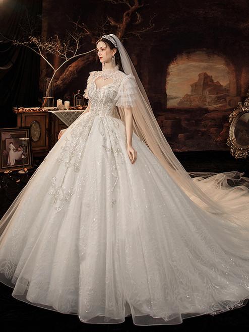 White Sequins Tulle Short Sleeve Backless Wedding Dress