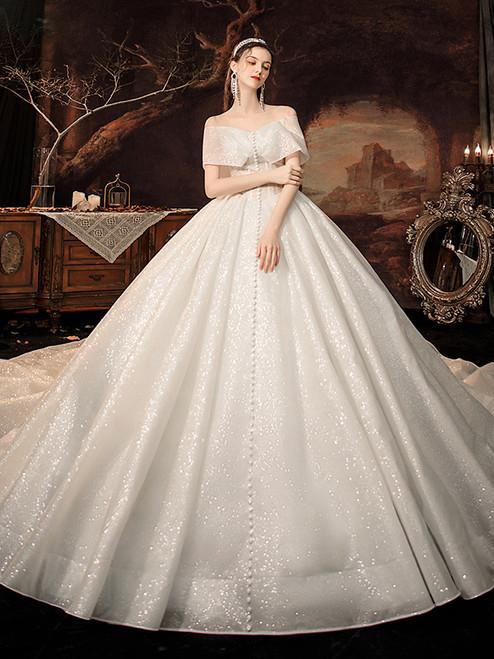 White Sequins Off the Shoulder Button Wedding Dress