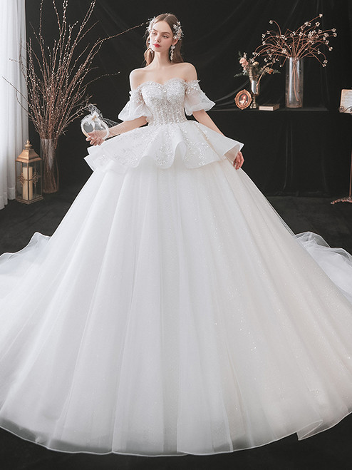 White Tulle Off the Shoulder Puff Sleeve Beading Wedding Dress