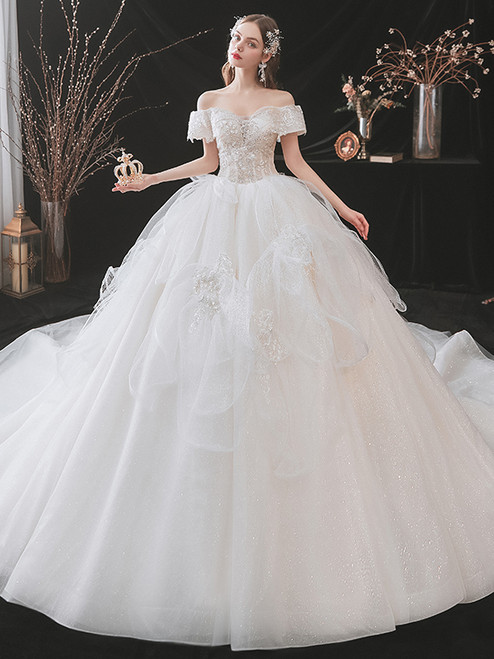 White Tulle Sequins Off the Shoulder Beading Wedding Dress
