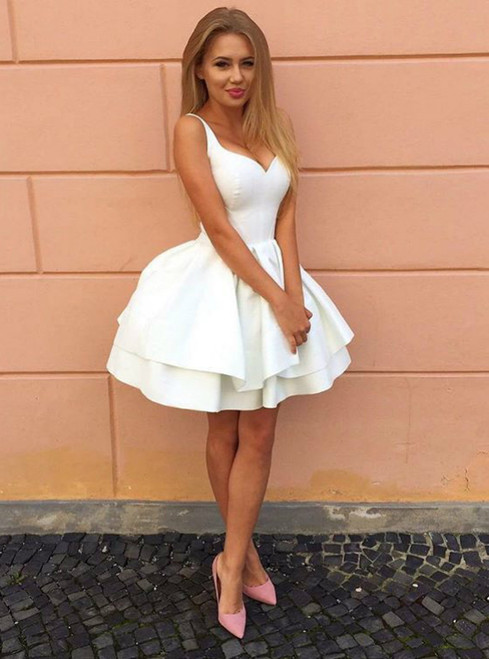 25632758658 Lace-Up Back White Graduation Dress Short Ball Gown