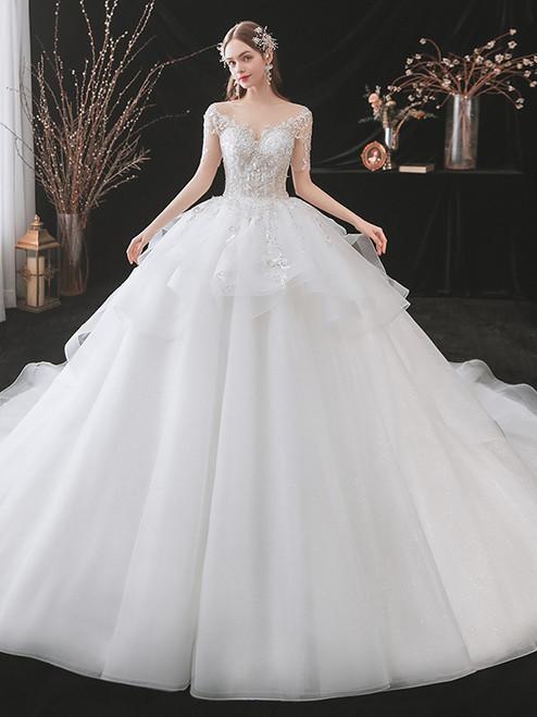 White Tulle Sequins Short Sleeve Backless Wedding Dress