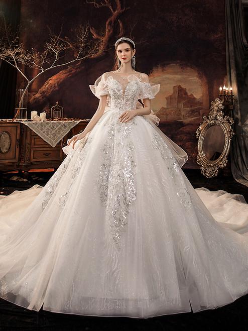 White Tulle Sequins Illusion Back Wedding Dress