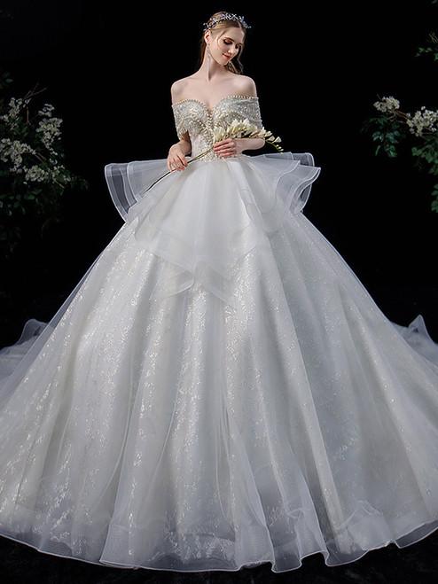 Tulle Sequins Off the Shoulder Pearls Wedding Dress
