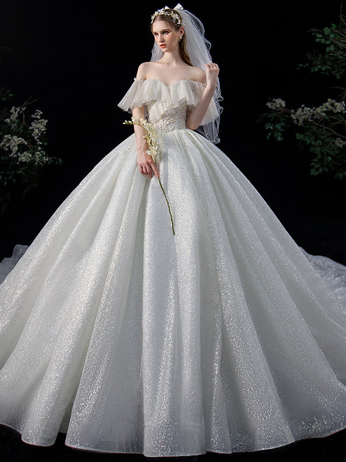 Ball Gown Sequins Off the Shoulder Pearls Werdding Dress