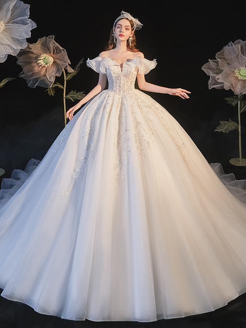 White Tulle Backless Seuqins Beading Wedding Dress
