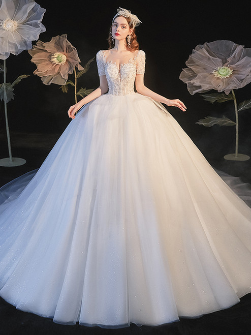 White Tulle Short Sleeve Backless Beading Sequins Wedding Dress